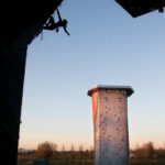 Climber on lead wall